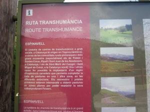 Cartell Ruta de la Transhumància a Espinavell