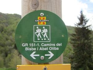 Senyal del GR 151 al pas per Espinavell