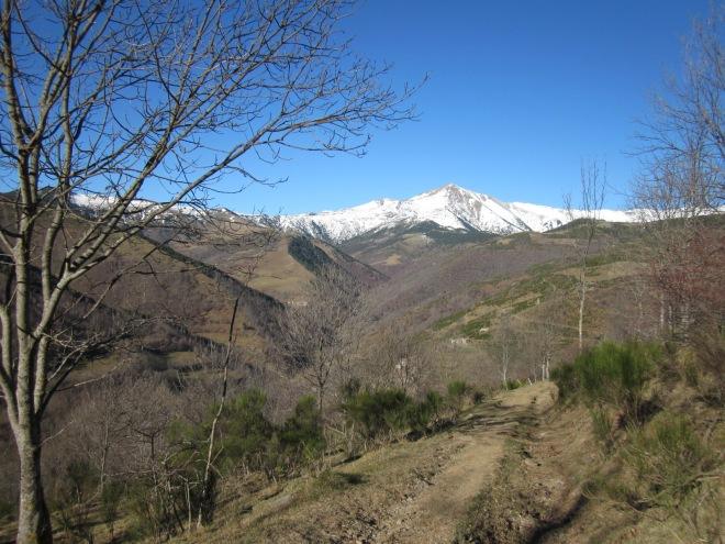 El camí que seguim és una pista, no hi ha pèrdua. Primer planegem, després pugem fins al serrat i finalment comencem el descens cap a Espinavell.